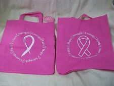 Pink Ribbon Breast Cancer Awareness Tote Bag Reusable Shopping Fundraiser Prize