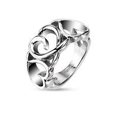 316L Stainless Steel Triple heart classic hollow cast fashion ring Fr sz6  ~ Sz8