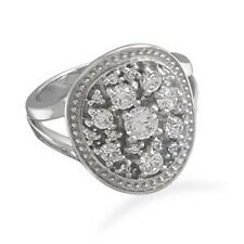 Oval Ring with Clear CZs 925 Sterling Silver Rhodium Plated V Shaped Band Large