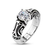 Stainless Steel clear solitaire CZ W/ tribal design wedding band Ring sz5 ~ sz9