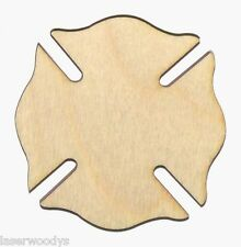 Firemen Shield Unfinished Flat Wood Shapes Cut Outs FS491 Variety Sizes Crafts