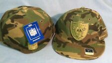 OAKLAND RAIDERS CAMOUFLAGE TEAM LOGO FLAT BRIM FITTED NFL CAP BY REEBOK