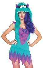Adult Women's 2 Piece FUZZY FRANKIE MONSTER Costume with Hood! Sizes XS to M/L