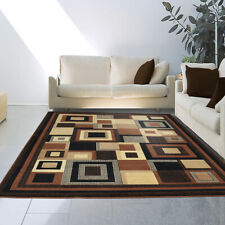 Brown Black Beige Contemporary Squares Area Rug Modern Multi-Color Blocks Carpet