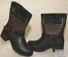 Bottes Low Boots Bottines Cloutees Motard Sexy Mode Similicuir Pierre-cedric !!