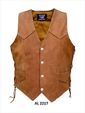 Brown Leather Vest Motorcycle Biker Vest with Side Lace Mens Water Buffalo