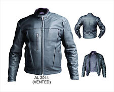 Black Leather Mens Vented Riding Motorcycle Biker Jacket - Zip Out Liner