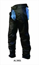 Mens or Unisex Black Drum Dyed Leather Motorcycle Chaps