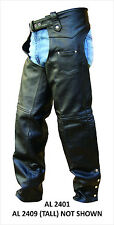 Unisex Traditional Black Buffalo Lined Leather Motorcycle Chaps