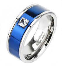 Ti Titanium Blue Striped 0.25 Carat CZ Wedding Band Ring Size 5-13