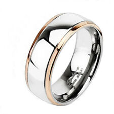 Ti Titanium Rose Gold Plated Edge Striped Band Ring Size 5-13