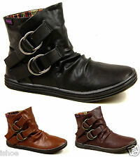 BLOWFISH RUNNER WOMENS LEATHER LOOK FLAT SLOUCH ANKLE BOOTS UK SIZES 3 - 8 NEW