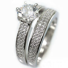 .925 Sterling Silver Simulated Pave Diamond Bridal Engagement duo Band Ring Set