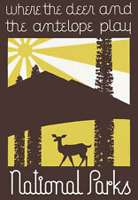TA53 Vintage USA National Parks Deer & Antelope Play Travel Poster A1 A2 A3