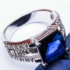 3.50CT Sapphire & Pave CZ .925 Sterling Silver Ring Size 5 6 7 8 9 10