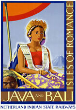 TR16 Vintage India Indian Java & Bali Travel Poster Re-Print A4