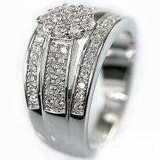 Sterling Silver Cubic Zirconia CZ Marquise Look Cluster Bridal Engagement Ring