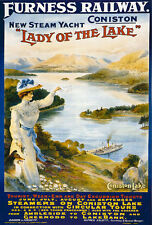 TS66 Vintage Coniston Lake District Furness Railway Travel Poster Re-Print A4