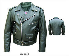 Mens Black Full Belt Classic Naked Leather Motorcycle Biker Jacket ZipOut Liner