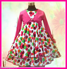 HP3118A Pink Polkadotz Christmas Dress + Cardigan SET Outfit SZ 2,3,4,5,6,7,8,9T