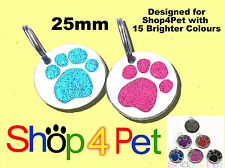 Pet ID Tag, 25mm Reflective Glitter Dog & Cat Tags, Paw Design, ENGRAVED OPTIONS