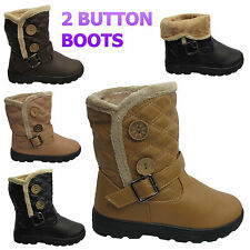 WOMENS WINTER BIKER FAUX FUR BUCKLE QUILTED FLAT SNOW ANKLE GIRLS BOOTS SIZE UK