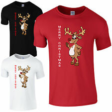 RUDOLF MERRY CHRISTMAS GLITTER NOSE T-SHIRT NOVELTY RETRO XMAS - BLACK RED WHITE