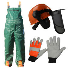 Chainsaw Safety Protection Bib Brace Trousers Gloves Helmet Kit Suit Hobby User