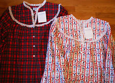 100% Cotton Lanz of Salzburg Long Flannel Nightgown Gown RED Plaid OR Floral NWT