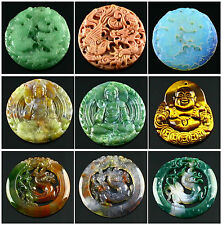 F851 Carved Indian agate Tiger eye Opalite dragon phoenix buddha pendant bead