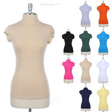 Side Shirring Turtleneck Short Sleeve Plain Cotton Tee Shirt Top Easy Casual