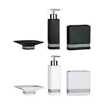 RADIANCE DIAMANTE BLACK AND WHITE CERAMIC BATHROOM SOAP LOTION TOOTHBRUSH SET