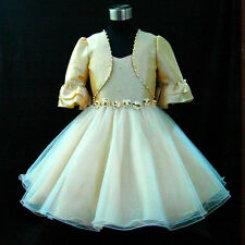 B875 Beige Bridesmaid Party Flower Girls Dress + Cardigan Set SZ 2-3-4-5-6-7-8-9