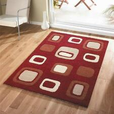 SMALL - LARGE THICK MODERN RED TERRACOTTA ORANGE IVORY BLOCK DESIGN RUG