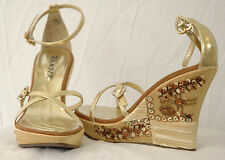 Sexy Gold Embellished Pearlized Sequin On Satin Strappy Platform Sandal Shoes