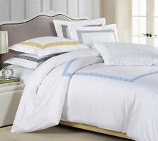 3pc White/Chocolate Greek Key Embroidered Design Duvet Cover Set Queen King