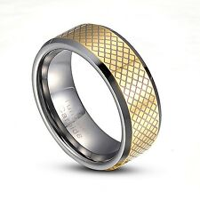 Tungsten Carbide 8mm Gold Gridding Striped wedding Band Ring Size 9-14 TG010
