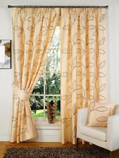 Faux Silk Embroidered Floral Leaf Natural Ready Made Fully Lined Tape Curtains