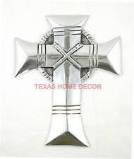 Celtic Wall Cross Pewter Metal Smooth Shiny Surface Gothic Decor