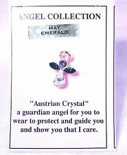 Tie Tack Angel Austrian crystal birthstones lapel pin