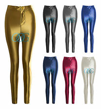 Womens Ladies Wet Look Shiny High Waisted Button Leggings Disco pants UK 6 To 14