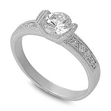 ROUND TENSION SET ROUND CZ ENGAGEMENT.925 Sterling Silver Ring Sizes 6-10