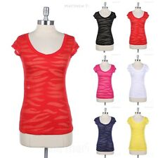 V Neck Zebra Burn Out Short Sleeve T Shirt Casual Cotton Top See Through Sheer