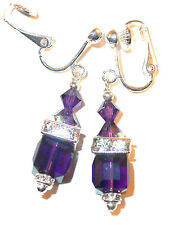 DEEP PURPLE VELVET Crystal Earrings 8mm Cube Sterling Silver Swarovski Elements