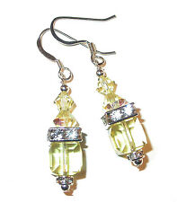 JONQUIL YELLOW Crystal Earrings 8mm Cube Sterling Silver Swarovski Elements