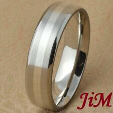 Titanium Wedding Band Engagement Ring Silver Inlay Mens Bridal Jewelry Size 6-13