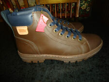 Mens Levi's Kanza Mid Top Lace Up Boots Shoes Leather Upper Dark Brown New