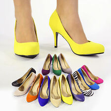 NEW WOMENS LADIES SYNTHETIC FAUX SUEDE PATENT HIGH HEELS SHOES SIZES 3 4 5 6 7 8