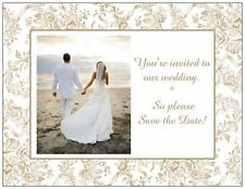 UR PHOTO Custom WEDDING  Save the DATE Toile Postcards or Flat CARDS 2 Colors