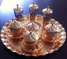 Turkish Coffee&Water&Tea BIG Set, Copper& Porcelain& Glass,Ottoman Palace Tulips